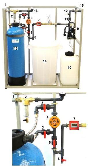 AUDKM automatické blokové úpravny s demikolonou, konduktometrem KM15 a dávkovacím čerpadlem