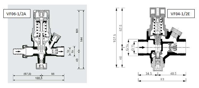 VF04, VF06 napouštěcí ventily - schemata