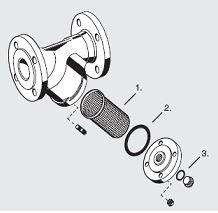 FY69P, FY71P potrubní  filtry z litiny - rozpad na díly