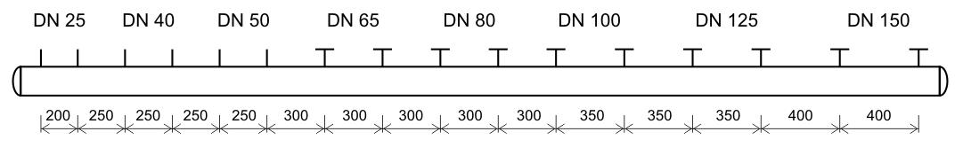 Trubkový rozdělovač, trubkový sběrač schema